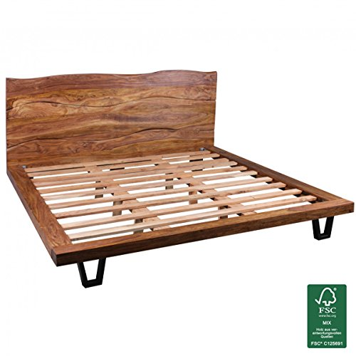 WOHNLING Bettgestell Massivholz Sheesham Bett 180x200 Cm Doppelbett Mit  Lattenrost Landhaus Stil Echt Holz