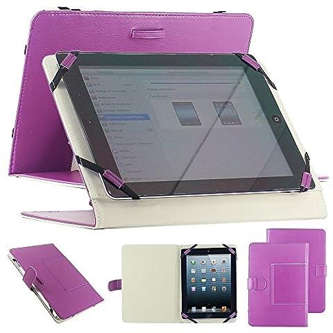 Housse universel support etui couleur violet simi cuir pour tablette PC 10
