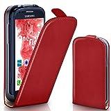 moex Samsung Galaxy S3 Mini | Hülle Rot 360° Klapp-Hülle Etui thin Handytasche Dünn Handyhülle für Samsung Galaxy S3 Mini S III Case Flip Cover Schutzhülle Kunst-Leder Tasche