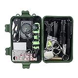 Kit de supervivencia de emergencia 16 en 1 herramienta de engranaje de supervivencia al aire libre con pulsera de supervivencia, linterna pequeña, regalos de día de cumpleaños para él marido