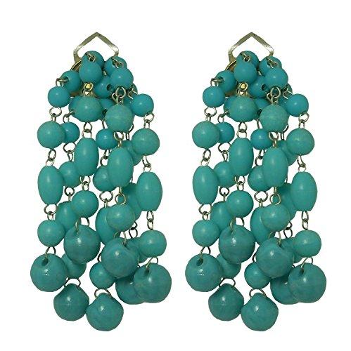 VINTAGE 2 TURQUOISE - Orecchini fatti a mano con clips, 7 pendenti in resina Turchese, originali anni 60, lunghezza cm. 5,5