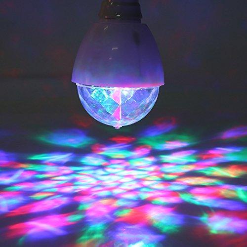 2 Stück RGB LED Mini Ball Birne Licht Lampe Drehender Kristall Bühnenlicht Disco Hause Familie Partei Club Bar DJ Pub Hochzeit Glühlampen für Halloween Weihnachten (Keine Birne Halloween)