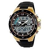 Cebbay Liquidación hombres mujeres regalo reloj dorado pantalla dual a prueba...
