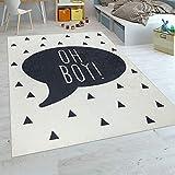Paco Home Kinderteppich Kinderzimmer Jungen Babyteppich Waschbar Spruch Trend Schwarz Weiß, Grösse:160x230 cm