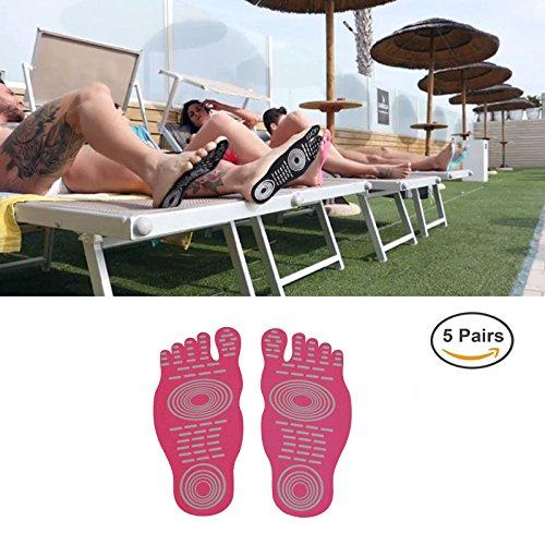 Uomo Donna e Bambino Adesivo Adesivo Foot Pads Stick On Soles Protezione piede flessibile, calzini per l'esercizio piedi Beach Pool, non slip Yoga Calzini (5 paia) Rose red