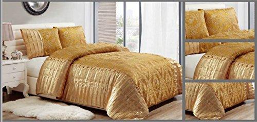 Rynz Collection™ Luxus-Tagesdecke, dreiteilig, Deckbett und 2Kissenbezüge, für Doppel- und King-Size-Betten, gold, Doppelbett (Luxus-king-kissenbezug)