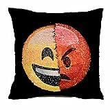 owikar Funny Pailletten Emoji-Face Überwurf Kissenbezug, wendbar Mermaid Pailletten Kissen wechselnde Farbe Emoji-Kissen Dekokissen Kissenbezug Kissen für Sofa Home Decor DIY a
