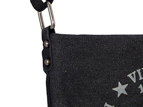 Coole Canvas Style Umhängetasche - Vintage Stern - Vernietung an der Seite - umlaufender Reißverschluß - Damen Mädchen Teenager Tasche Schwarz