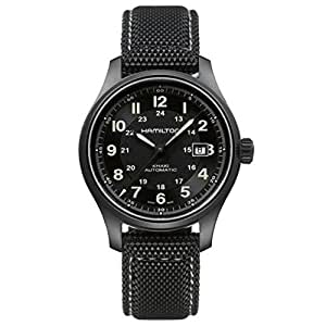 Hamilton Men's 42mm Black Canvas Band Titanium Case S. Sapphire Automatic Analog Watch H70575733