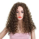 Longra Femmes Perruques Long bouclé Party Cosplay Hair Full Perruques Long ondulé Curly Anime Fluffy Cool Wig Cheveux violets Cosplay Party Perruque Cheveux Fibres Synthétiques (Marron)