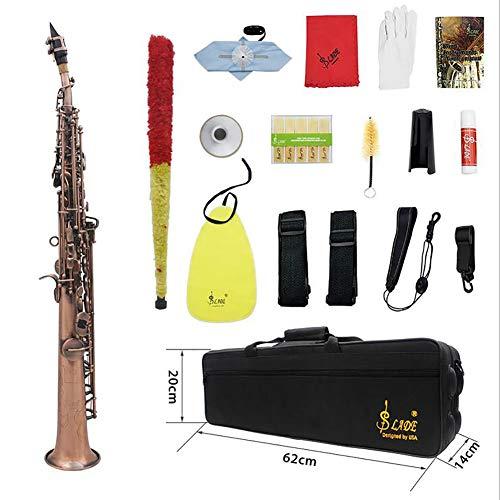 Professionelle Red Bronze Muster Bb Sopransaxophon Saxophon Holzblasinstrument Abalone Shell Key Carve Muster mit Fall Handschuhe Reinigungstuch Straps Sonstiges Zubehör