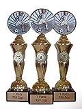 RaRu Fussball-Pokale Spieler (3er-Serie) mit Wunschgravur und 3 Anstecknadeln (Sticker)