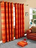 Homescapes handgewobener Vorhang Morocco im 2er Set Ösenvorhang 140 x 140 cm Dekoschal in Streifen-Optik aus 100% reiner Baumwolle in terracotta