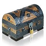Brynnberg Piraten-Schatztruhe Holztruhe Braun - Handarbeit Vintage mit Schloss 20x11x11cm