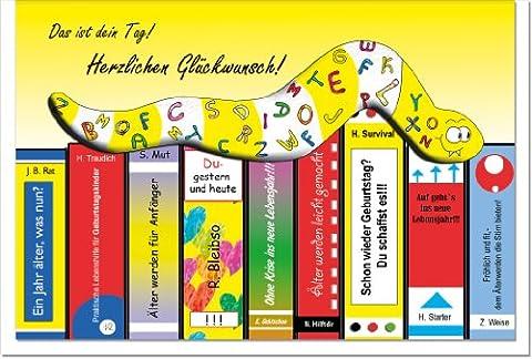 metalum Premium-Geburtstagskarte zum Schmunzeln mit total verrücktem Metall - Lesezeichen in Form eines Bücherwurms für Leute, die Spaß verstehen