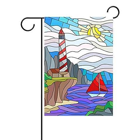Duble Face vitrail Phare et voilier Soleil Ciel et mer Polyester Maison Jardin Drapeau Bannière 12x 18/71,1x 101,6cm pour fête de mariage tous les temps, Polyester, multicolore, 28x40