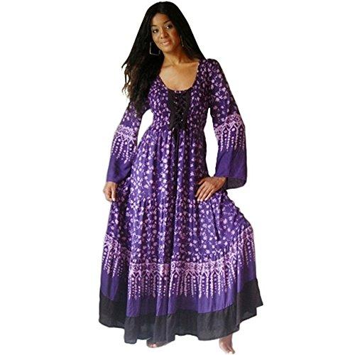 LOTUSTRADERS Damen Batik Kleid Aqua