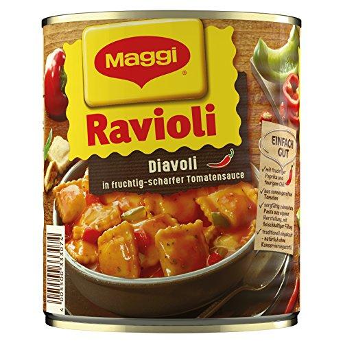 Preisvergleich Produktbild Maggi Ravioli Diavoli (Teigtaschen mit Fleischfüllung,  in fruchtig-scharfer Tomatensauce,  für Topf und Mikrowelle) 1er Pack (1 x 800g)