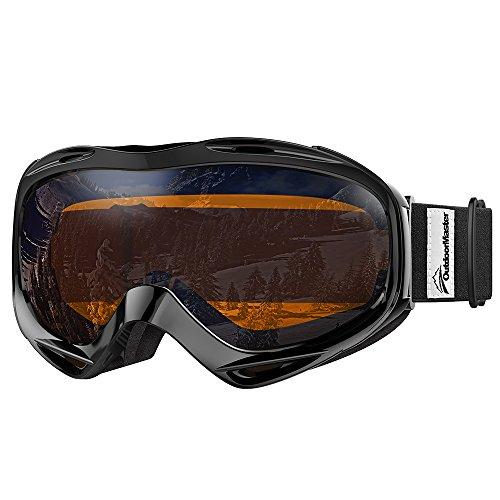 OutdoorMaster Premium Skibrille, Snowboardbrille Schneebrille OTG 100% UV-Schutz, Helmkompatible Ski Goggles für Damen&Herren/Jungen&Mädchen(Schwarzer Rahmen + VLT 24% Orange Linse mit REVO Silber)