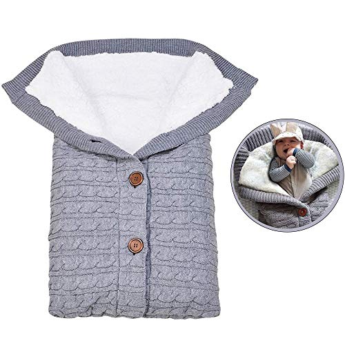 kinderwagen schlafsack winter,neugeborenes baby gestrickt wickeln,Dicke Strick Fleece Decke,Swaddle Schlafsack,schlafsack abnehmbare ärmel winter