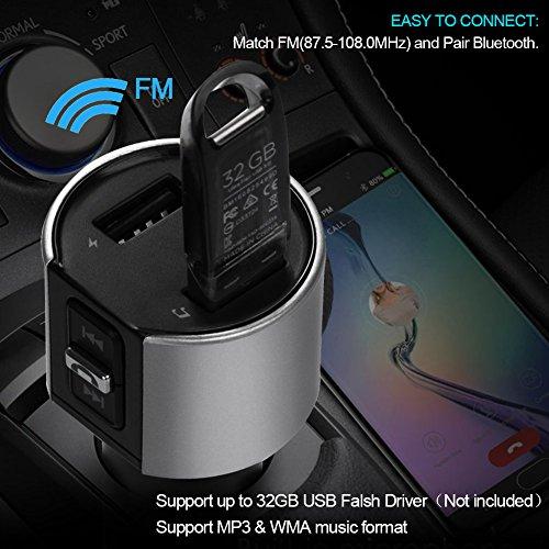 VOYOMO Bluetooth FM Transmitter, KFZ Auto Radio Adapter mit 2 USB Ladern & Mikrofon zur Übertragung von Musik vom Handy und MP3 vom USB-Stick, Freisprecheinrichtung Car Kit für iOS- und Android-Geräte - 6