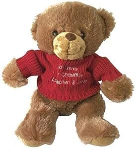 Ours en peluche marron avec brodé rouge Pull
