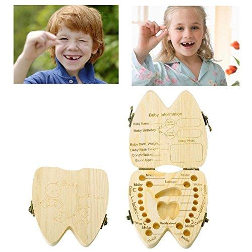 JZK® Scatola porta dentini da latte in legno per bambini, regalo nascita / regalo battesimo / regalo compleanno, scatolina scatoletta scatola per dentini da latte legno, porta denti latte bambini