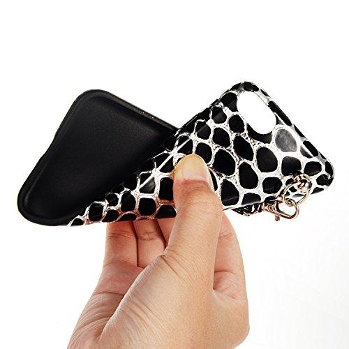 iPhone 6sPlus Hülle, Gelb Kirschblüten-Serie CLTPY iPhone 6Plus Handytasche [Schwarz Silikon Rahmen + Hart Plastik Abdeckung] mit PU Leder Lanyard für Apple iPhone 6Plus/6sPlus + 1 x Freier Stylus Schwarz A