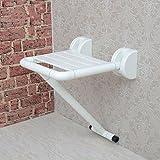 ZXLDP Badezimmer Hocker Badezimmer-Sicherheit Klapp-Hocker Der Ältere Edelstahl-Duschstuhl Mit Beinen Wand-Fold Stühle ( Farbe : Weiß )