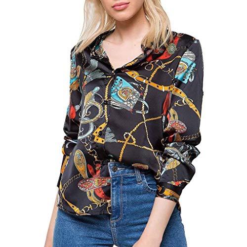 Caren Frauen Sommer tiefem V-Ausschnitt T-Shirts Langarm Button-Down-Front Casual Tops Shirts und Blusen (Color : Schwarz, Size : Large) -