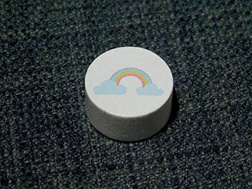 Motivperle Regenbogen, Weiß, Schnullerkette, Greifling, Kinderwagenkette, Schlüsselanhänger, Armband, 1 Stück