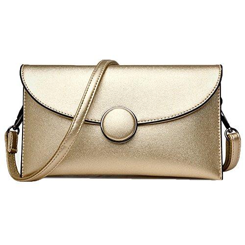 Leder Damen Clutch Bag Abendtasche Kleine Handtasche Lady Elegante Schultertasche City Bag Long Chain,Gold-OneSize