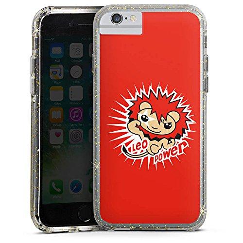 Apple iPhone 7 Bumper Hülle Bumper Case Glitzer Hülle Lion Stars Sterne Bumper Case Glitzer gold