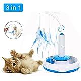 ZOOYAUE Elektrische drehendem Katzen Federspielzeug,Interaktives Katzenspielzeug Katze Teaser Spielzeug, mit 2 Ersatz Federn