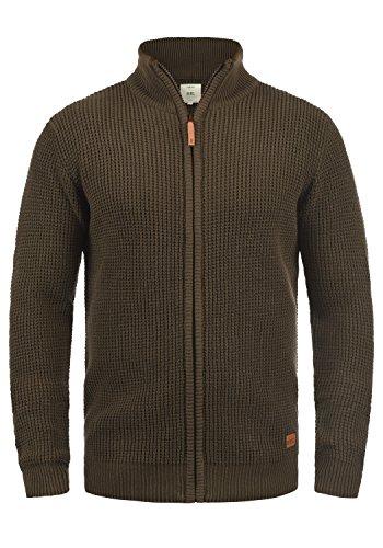 Redefined Rebel Mongo Herren Strickjacke Cardigan Grobstrick Mit Stehkragen Aus 100% Baumwolle, Größe:S, Farbe:Teak Brown