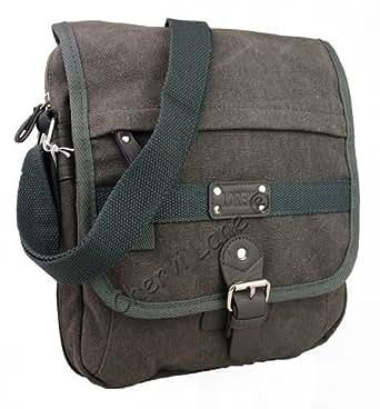 Unisex Canvas Small Cross Body Satchel Messenger Bag (Black/Blue/Grey/Khaki/Olive) (Grey)