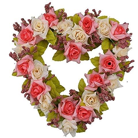 A-szcxtop Girlande in Herz für Hochzeit Home Dekoration Romantik Hängender Kranz für Valentine Girlande Urlaub Dekoration für Party, rosa