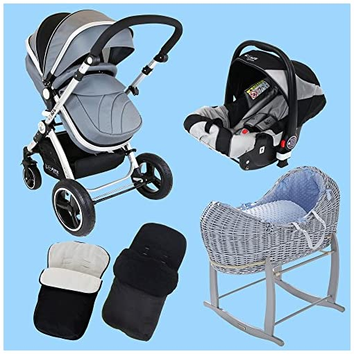 New Born Baby Boy Bundle – 3 in 1 Pram System Grey + Noah Pod + Footmuffs 510 2BFfcNCOL