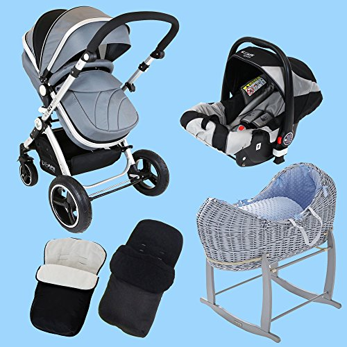 New Born Baby Boy Bundle – 3 in 1 Pram System Grey + Noah Pod + Footmuffs 510 2BFfcNCOL