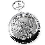 Taschenuhr, Taufgeschenk für Enkelsohn, Motiv: Heiliger Christophorus, Zinn-Taschenuhr in luxuriöser Holzbox, Geschenkidee von den Großeltern