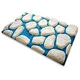 Badematte Patty | aus flauschigem Hochflor | Zum Set Kombinierbar | weiß-blau | 5 Größen wählbar (80x150 cm)