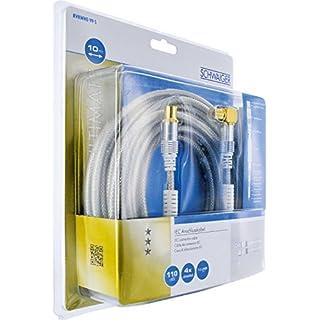 Schwaiger IEC Anschlusskabel (10 m, IEC-Stecker auf 90 Grad IEC-Buchse, 110dB, 4-fach, vergoldete Rädelmutter) transparent