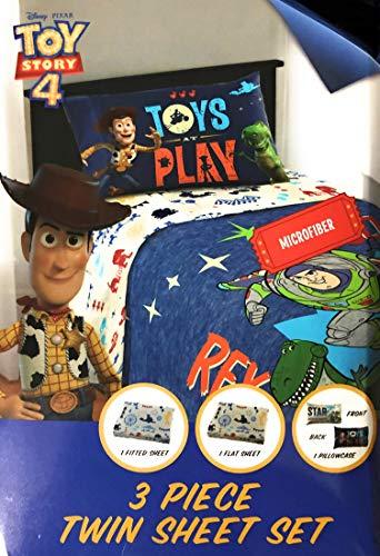 Toys Story Bettwäsche-Set für Doppelbetten, mit 3-teiligen Bettlaken und Spannbettlaken und Kissenbezug, 4 Stück (Kissenbezug Story Toy)