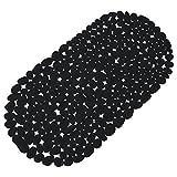 Schwarze Anti Rutsch Matte für die Badewanne - Wanneneinlage mit Saugnäpfen - Wannenmatte in schöner Kieseldekor Steinoptik - Größe: 67 x 35cm