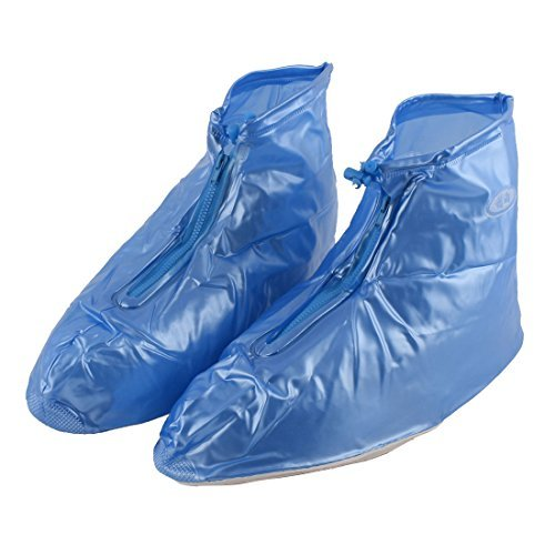 DealMux PVC Man Outdoor Zippered Snow Water Resistant Rain Shoes Overshoes Boot Covers Pair Blue (Overshoe Boots)