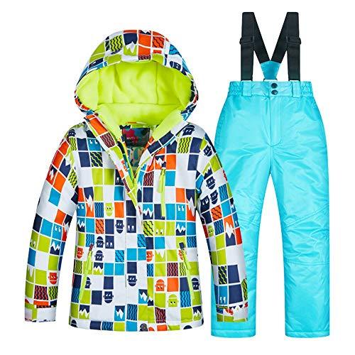 Jungen Skijacke Winter Dicke warme Kinder Skianzug Jungen Anzug Winddicht wasserdicht Skianzug Wasserdichte Winterjacke für Kinder (Farbe : C9+Sky Blue Pants, Größe : 14 Yards) - Ski-jacken Für 14 Mädchen-größe