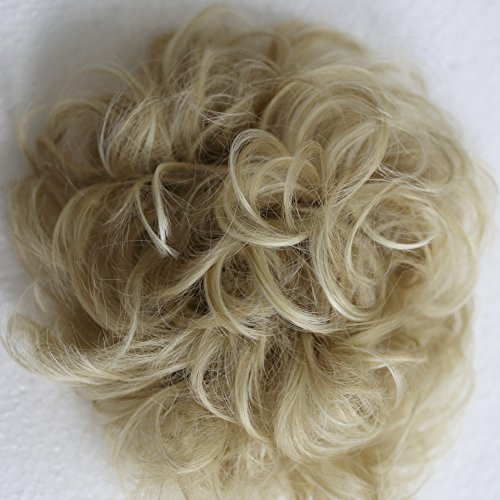 Prettyshop XXXL Haarteil Haargummi Hochsteckfrisuren, VOLUMINÖS, gelockter, unordentlicher Dutt hellblond mix # 15H613A HW35