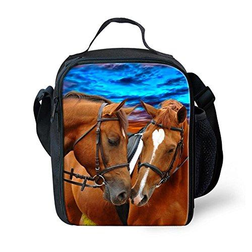 rmische Pferd Animal Print Mittagessen Taschen Für Kinder Jungen Mädchen Waschbar Tote Crossbody Mittagessen Container Essen Träger Für Schule Reise (Mittagessen Taschen Für Jungen)