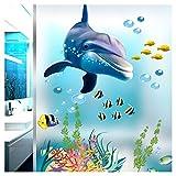 Grandora Wandtattoo Unterwasserwelt Delfin Fische Badewanne Badezimmer Bad selbstklebend Aufkleber Wandsticker Wandaufkleber Sticker W5293
