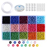 Queta 3mm Mini Glasperlen für Kinder DIY Armband Art, 1500 Stück im Karton 15 Mehrfarbensortiment Glasperlen Craft Beads Loose Spacer 1mm Seed Beads